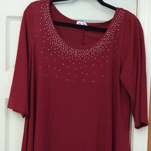🆓 Star Vixen Red Silver Toned Blouse 1X